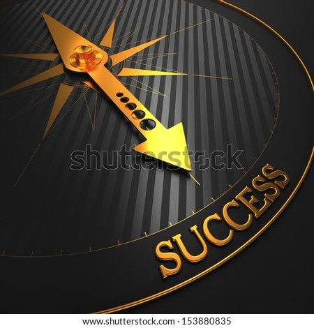 "Success - Business Background. Golden Compass Needle on a Black Field Pointing to the Word ""Success"". 3D Render. - stock photo"