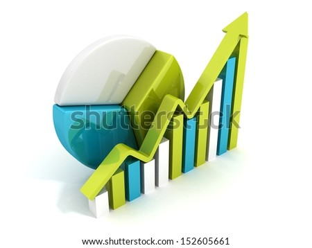 success business chart diagram with growing arrow - stock photo