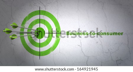 Success business concept: arrows hitting the center of target, Green Business-to-consumer on wall background, 3d render