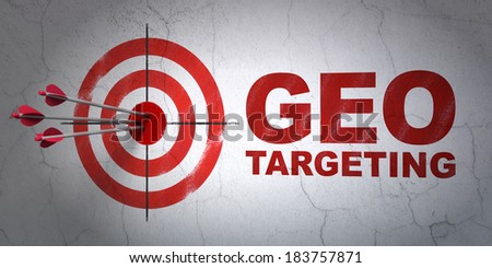 Success business concept: arrows hitting the center of target, Red Geo Targeting on wall background, 3d render - stock photo