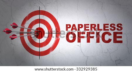 Success business concept: arrows hitting the center of target, Red Paperless Office on wall background - stock photo
