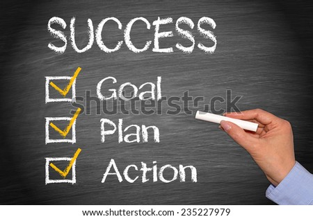 Success - Business concept with checklist on chalkboard