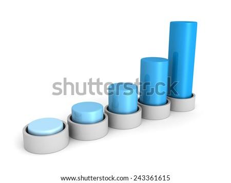 success business growing blue bar chart graph. 3d render illustration - stock photo