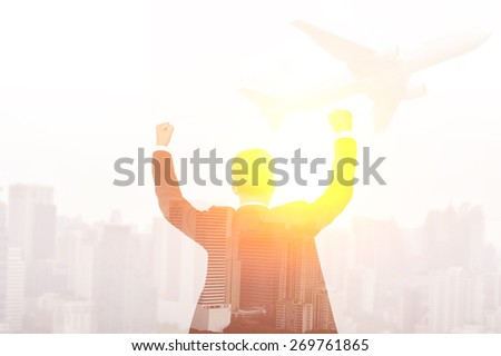 success business man double exposure concept of businessman and city - stock photo