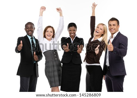 Success Business team. Thumbs up - stock photo