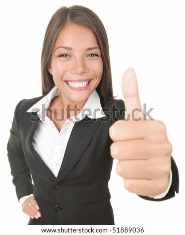 Success business woman isolated giving thumbs up looking at the camera. Successful happy Asian / Caucasian businesswoman. Isolated on white. - stock photo