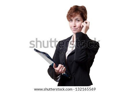 success business woman with briefcase and phone on white background
