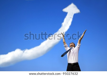 success businessman with business growing graph  cloud - stock photo