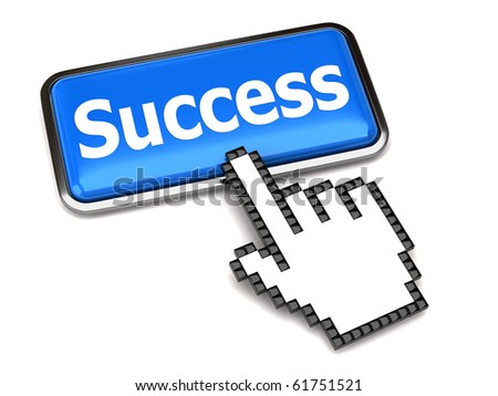 Success button and hand cursor
