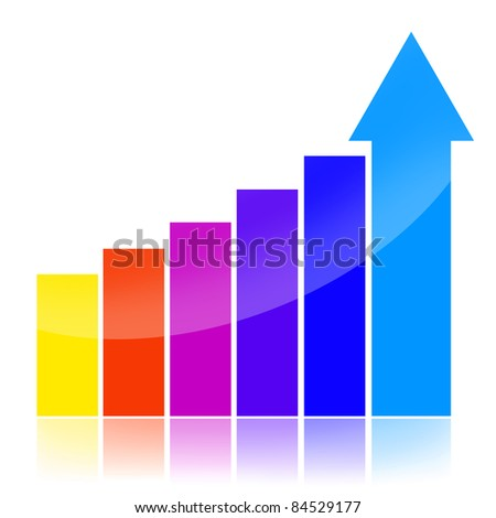Success charts with colorful statistical bars and upward arrow - stock photo