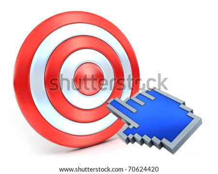 Success click. Hand cursor and red target. - stock photo