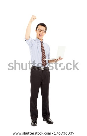 success computer engineer is  standing and raise hand - stock photo