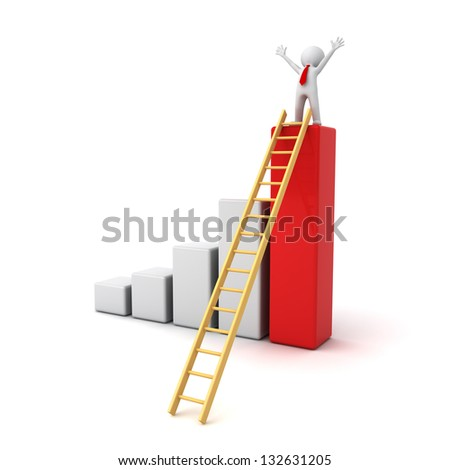 Success concept, 3d man standing with arms wide open on top of growth business bar graph with wood ladder isolated over white background - stock photo