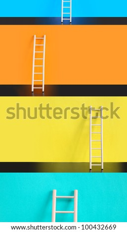 Success concept. Few wooden ladders against various color backgrounds - stock photo