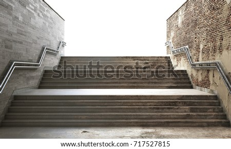 Success concept. Front view of a gray staircase with metal railing leading to up. Concept of success. 3d illustration