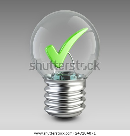 Success concept. Light bulb and green check mark. 3d illustration for your design. - stock photo