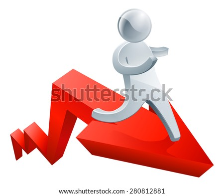 Success concept of a silver metal mascot on a red arrow - stock photo