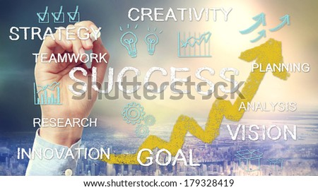 Success concept text and cartoon drawn with chalk sketches - stock photo