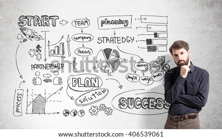 Success concept with bearded businessman and business scheme on concrete wall