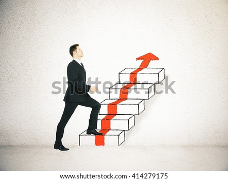 Success concept with businessman climbing ladder and red arrow sketch on concrete background - stock photo