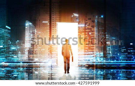 Success concept with businessman entering open door with white light on night city background. Double exposure - stock photo