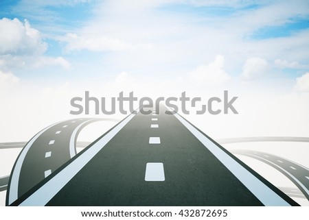 Success concept with highway road leading to bright sky. 3D Rendering