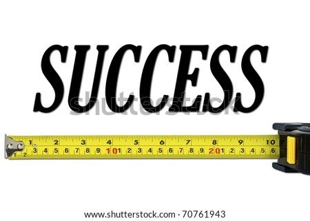Success Concept with Tape Measure Isolated on White - stock photo