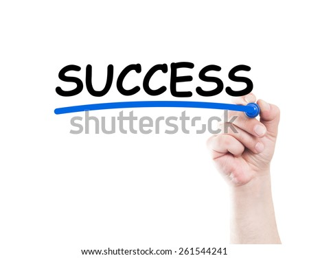 Success concept written by hand using a marker on transparent wipe board with white background and copy space - stock photo