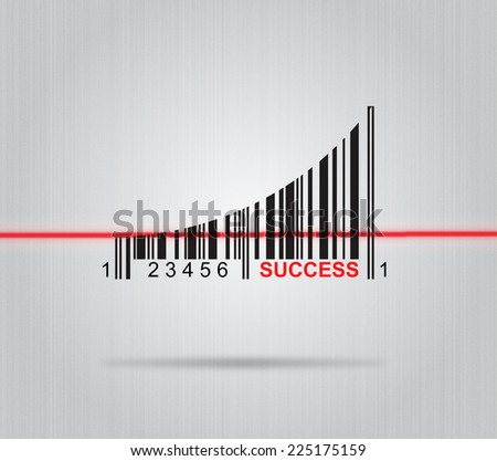 Success - Conceptual Illustration With Arrow And Colorful Bar code