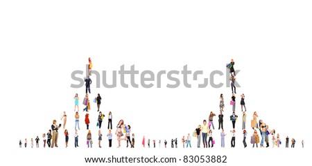 Success Crowds Symbol - stock photo