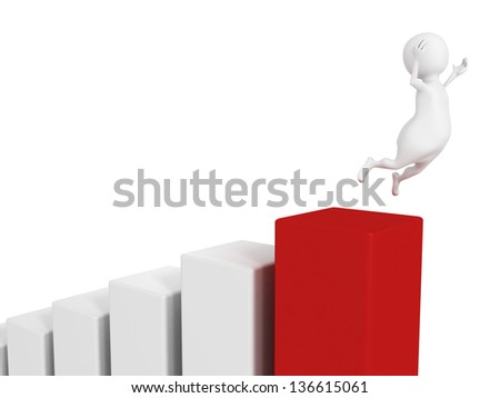 success 3d man happy jump on financial bar chart - stock photo