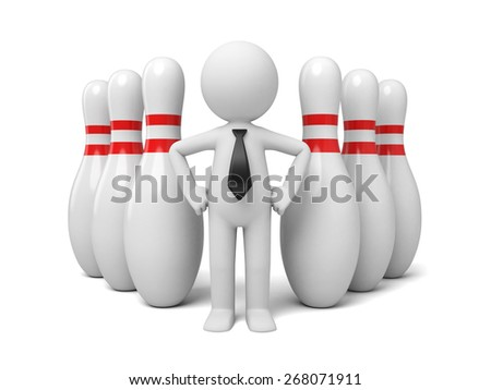 success/3d people with some bowling pins. 3d image. Isolated white background - stock photo