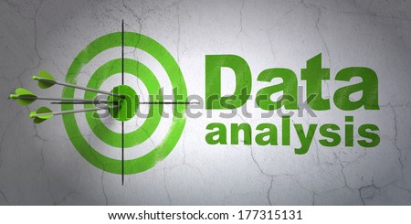 Success Data concept: arrows hitting the center of target, Green Data Analysis on wall background, 3d render - stock photo