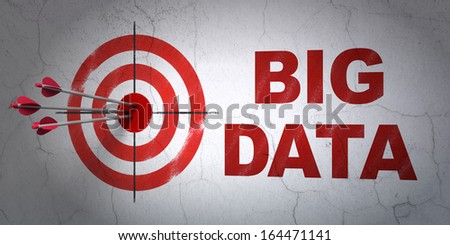 Success Data concept: arrows hitting the center of target, Red Big Data on wall background, 3d render - stock photo