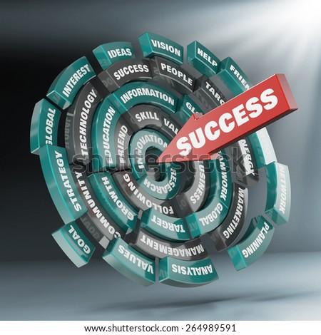 Success disc and arrow - stock photo