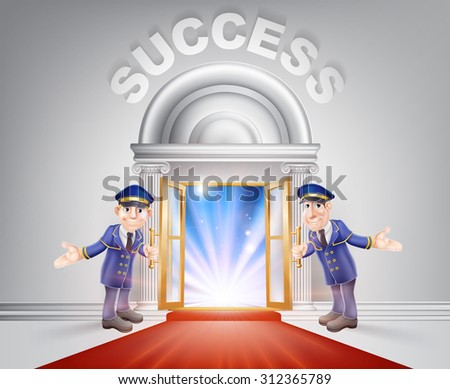 Success Door concept of a doormen holding open a red carpet entrance to success with light streaming through it. - stock photo