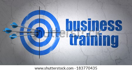 Success Education concept: arrows hitting the center of target, Blue Business Training on wall background, 3d render - stock photo