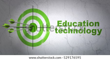 Success Education concept: arrows hitting the center of target, Green Education Technology on wall background, 3D rendering