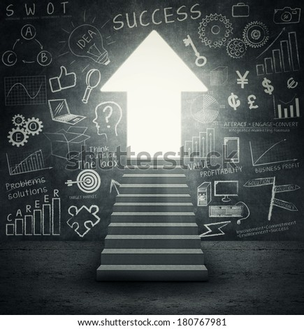 Success Entrance: stairways to an upward  arrow gate with the success doodle on the wall - stock photo