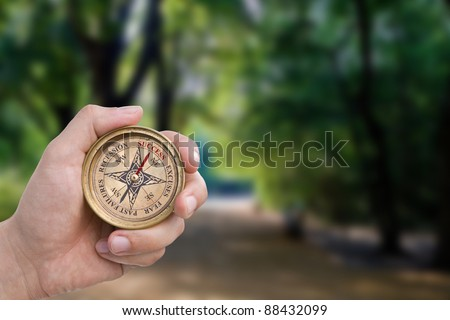 Success, excuses, fear, past failures, recession compass. Includes clipping path. - stock photo