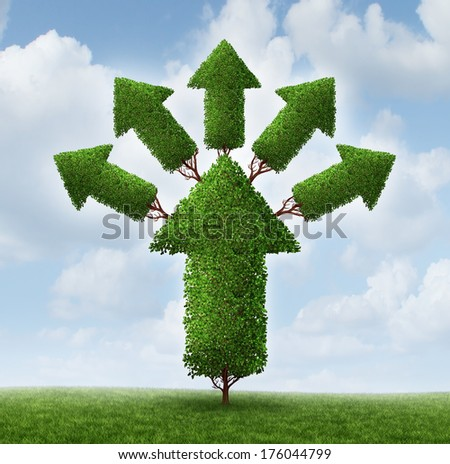 Success expansion business concept as a tree shaped as an upward arrow with plant stems branching out and growing smaller arrows as a metaphor for increased profits potential and healthy future. - stock photo