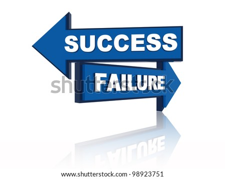 Success failure - 3d blue oposite arrows with text