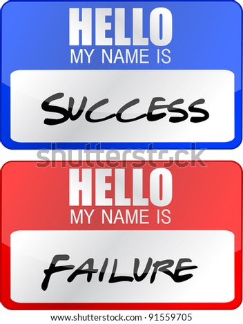 success, failure red and blue name tags illustrations - stock photo