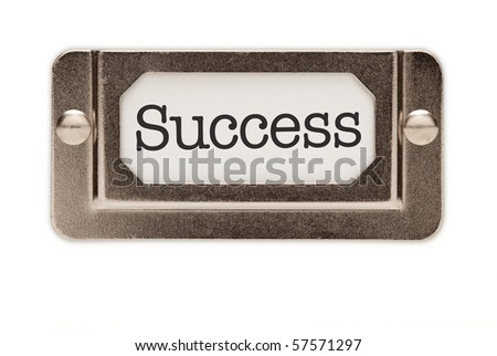 Success File Drawer Label Isolated on a White Background. - stock photo