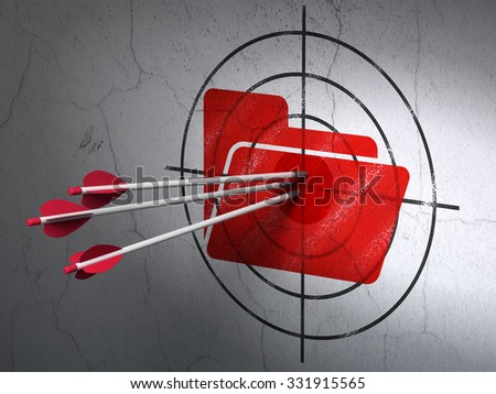 Success finance concept: arrows hitting the center of Red Folder target on wall background