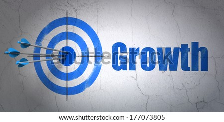 Success finance concept: arrows hitting the center of target, Blue Growth on wall background, 3d render - stock photo