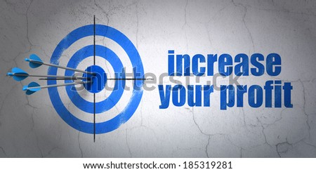 Success finance concept: arrows hitting the center of target, Blue Increase Your profit on wall background, 3d render - stock photo