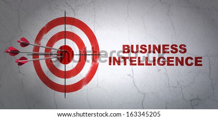 Success finance concept: arrows hitting the center of target, Red Business Intelligence on wall background, 3d render - stock photo