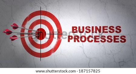 Success finance concept: arrows hitting the center of target, Red Business Processes on wall background, 3d render - stock photo