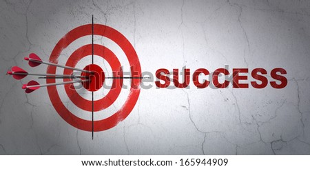 Success finance concept: arrows hitting the center of target, Red Success on wall background, 3d render - stock photo